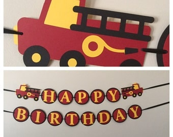 FireTruck Happy Birthday Banner fire truck birthday party decorations
