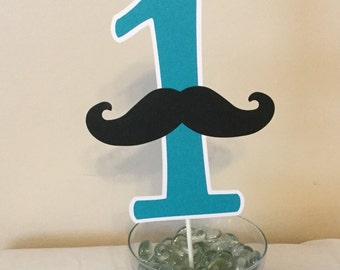 Mustache cake topper ONE first birthday I am one turquoise and black