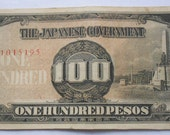 Genuine and Rare WWII Japanese Invasion currency 100 Peso Note for the Philippines.