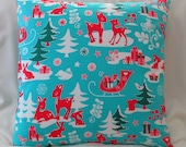 SALE Pillow Cover Retro Christmas Red Deer   18 x 18 Limited Edition  Christmas Pillow Cover ONE left in stock