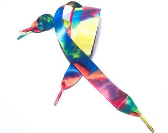 Rainbow Tie Dye Ribbon Shoe Laces Pair