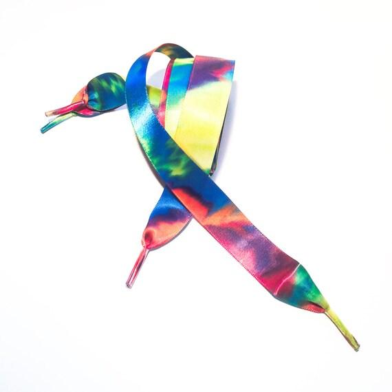 rainbow tie dye ribbon shoelaces pair