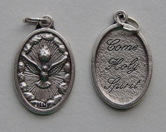 5 Patron Saint Medal Findings - Holy Spirit, Come, Die Cast Silverplate, Silver Color, Oxidized Metal, Made in Italy, Charm, RM1309