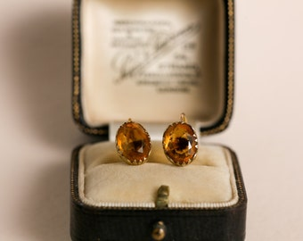 Victorian 9ct Gold Citrine Earrings