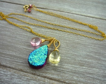 Pink & purple druzy briolette necklace. Gold filled necklace. Briolette trio necklace layering necklace