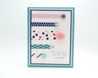 Thank You Card, Washi Tape Greeting Card, Button Card, Adorable Handmade Thank You Card