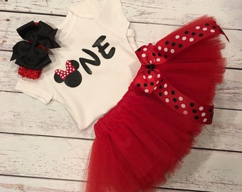 First Birthday Outfit Girl. Custom Minnie Mouse Tutu Set. Minnie Mouse Birthday. Baby Girl. Baby Tutu. Tutu Dress. First Birthday Outfit.