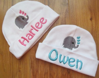 Personalized Baby Hat Monogram Baby Hat Personalized Baby Beanie Monogram Baby Beanie Baby Elephant Hat Baby Shower Gift Baby Hospital Hat