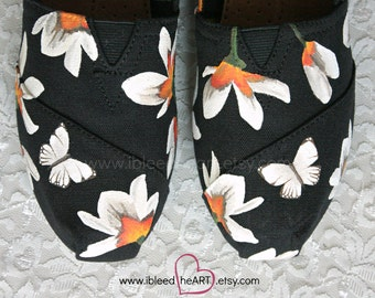 Flowers and Butterflies Custom Painted TOMS Shoes - Spring Flowers - Hand Painted Shoes - Flower Power - Wearable Art