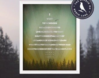 "Henry David Thoreau – I Went To The Woods...[3] Quote in shape of a tree 11""X14"" / Hiking / Typographic / Nature / Hiking / Digital Print"