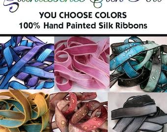 Silk Ribbon, 10 Ribbons, You Choose Hand Dyed Silk Ribbons, Crinkle Silk Ribbons, Silk Bracelet, Quintessence, You Choose 10 Ribbons