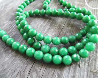 6mm JADE Beads in Green, Faceted, Round, 1 Strand, Approx 60 Beads, Gemstones, Green Stone Beads