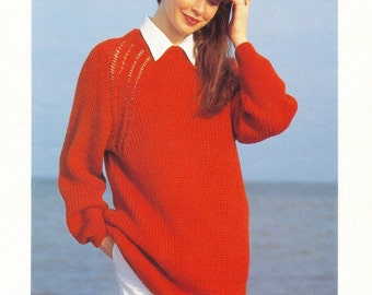 Raglan Sweater Vintage Knitting Knitting Pattern Ladies  Ribbed Raglan Sweater Patons Knitting Pattern Original Knitting Pattern