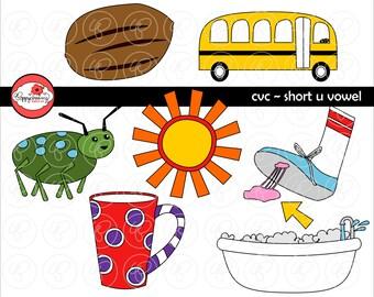 CVC kurze U Vokal Clipart: Digitales Bild eingestellt (300 dpi) Schule Lehrer ClipArt früh lesen Bild Alphabet