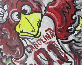 30x24 Officialy Licensed University of South Carolina Painting by Justin Patten 24x30 Sports Art College Baseball Football Gamecocks