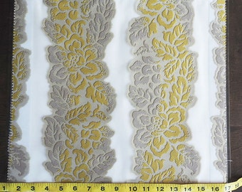 Custom Curtains in Sheer Ivory with Chartreuse / Grey Floral Stripe Pattern One Panel Custom sizes available