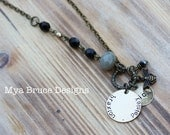 Antique gold, black and grey design with personalized pendants and bee charm