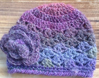 Crochet Baby Hat, 3-6 Months, Purple Hat, Baby Girl Hat, Violet, Infant Girl Hat, Baby Girl Beanie, Photo Prop, **Ready to Ship