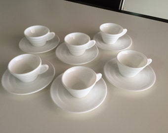 Art Deco Design White Espresso/ Coffee Cups With Saucers/ White Milk Glass/ By Gatormom13