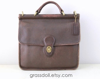 Vintage Coach Chocolate Brown Color Leather Wills Bag ,USA Made Coach Brown Leather Hand Bag  / Coach -9927