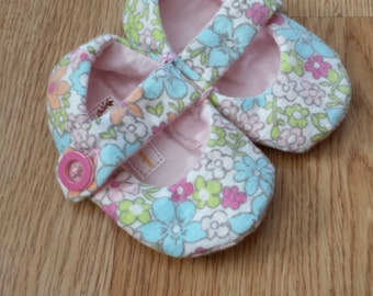 Mary Janes handmade baby girl soft flannel shoes pink floral cotton 6 months