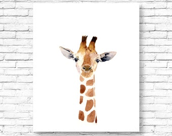 Watercolor giraffe, Woodland nursery, Animal Paintings, watercolor animal, giraffe, kids posters, African nursery prints, nursery art