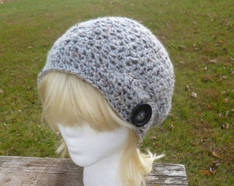 Slouchy Gray Crochet  Beanie Womens Teen Hat with Button