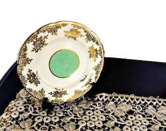 Antique PARAGON Gold White Green Plate/Decorative Plate/Bread and Butter Plate/Gold Embossed
