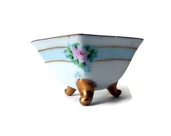 Antique  Bone China Salt Dish, German Porcelain, Gold Footed Hand Painted, Trinket Dish