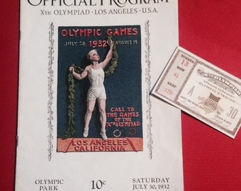 1932 OLYMPICS Program and Gorgeous Opening Ceremony Ticket -- Amazing RARE Collectibles!