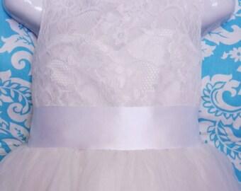 "2"" White Ribbon Dress Sash, 50mm dress sash, Bridesmaid sash, Flower Girl sash, Wedding sash, Bridal sash"