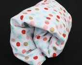 Gold Coral Mint Turquoise Polka Dot Fitted Cotton Crib Sheet/Changing Pad Cover/Mini Crib Sheet - by Mommy Moxie on Etsy