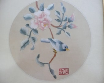 Framed Embroidered Bird and Flowers on Silk, from China - Gold Bamboo Frame - Chinese Embroidery - Asian Art