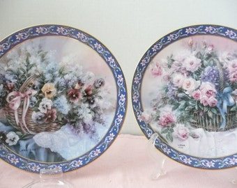 "Lena Liu ""Basket Bouquet"" Plates, ""Roses"" and ""Pansies"" by W.L. George Fine China"