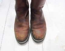 Vintage Work Boots Leather Boots Grunge Boots Distressed Boots Mason Boots Western Work Boots
