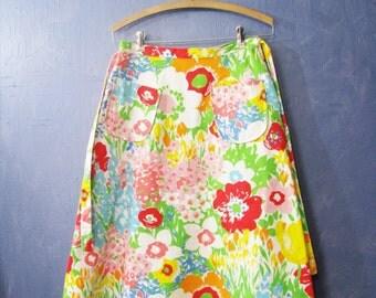 Vintage Spring Skirt Wrap Around Vintage Fashion Flower Print Spring Flowers