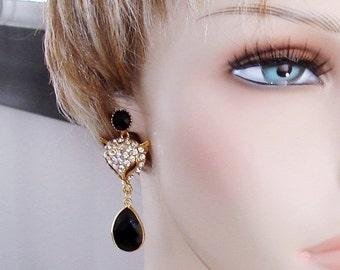SHOP CLOSING SALE: Ashira Statement Bold Rhinestone Fox Head with Natural Black Onyx Briolette Teardrop Dangle, Drop Earrings