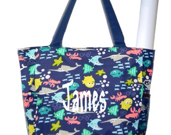 Personalized Navy Blue Fishes Pattern Diaper Bag with Changing Pad