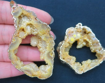 SIMILAR AS- 5pcs Large Yellow Druzy Geode Agate Pendant 38x52mm to 48x65mm- Gold tone