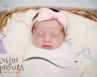 """Pink baby headband, infant headband, pink bow, 4"""" bow, bow headband, tuxedo bow headband, newborn headband, hairband, large bow headband"""