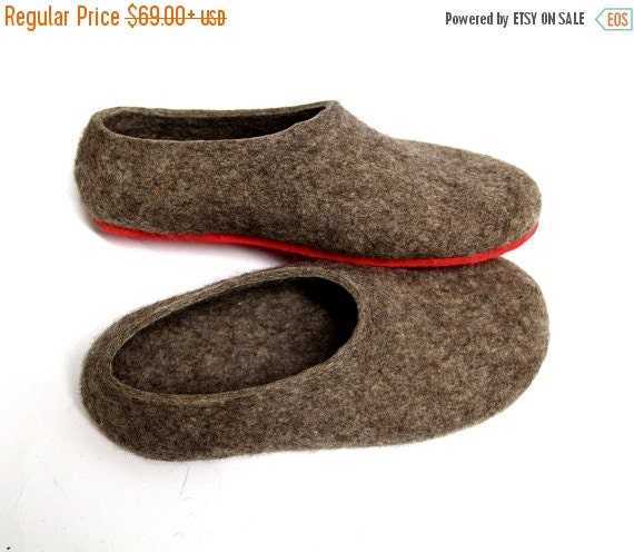ON SALE 15% OFF Undyed Wool Slippers - Womens House Shoes - Christmas in July - Minimalist Shoes - Indoor Shoes - Rubber Soles - Gift for He