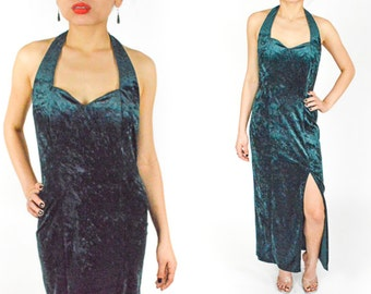 90's Emerald GREEN Crushed VELVET  MAXI Dress. Halter Neck with Slit Thigh. Backless and fitted. 90's Grunge Mod Vamp Goth