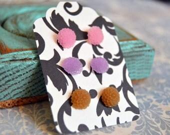 Mum Flower Earrings Set - Chocolate Brown, Bubblegum Pink, Wisteria Purple - Small Chrysanthemum Earring Studs