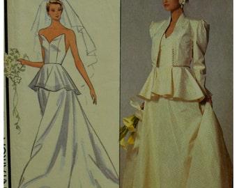 Strapless Wedding Dress Pattern, Murray Arbeid Design, Fitted Winged Bodice, Boned, Peplum, Flared Skirt, Train, Style No.1387 Size 6 8 10