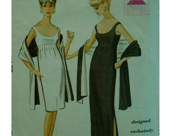 "Pauline Trigere Evening Gown Pattern, 1960s, Empire Waist, Scoop Neck, Sleeveless, Straight Skirt, McCalls No. 7521 Size 12 (Bust 32""81cm)"