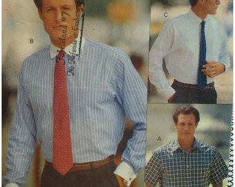 Mens Shirt Pattern, Casual, Dress, Pointed Collar, Loose Fitting, Long/Short Sleeves, Shaped Hemline, Vogue No. 7954 Size 15 15.5 16 Neck