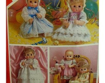 "Vintage Baby Doll Clothes Pattern, Bonnet, Dress, Pinafore, Christening Dress, Simplicity No. 6055 UNCUT Size 15-16"" (38-41cm) Doll"