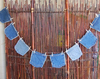 Denim Pocket Bunting with Mini Clothespins 8 Pockets Blue Jeans Garland on 11 Feet of Heavy Hemp Cord