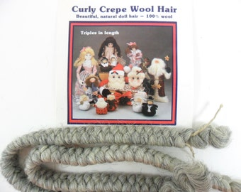 """2 - Curly Crepe Wool Doll Hair Gray by All Cooped Up 100% Wool, Two 12"""" Lengths"""