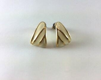 Gold and white enamel earrings